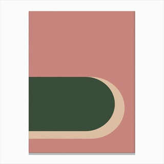 Abstract Pink And Green Arches Canvas Print