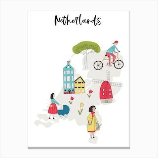 Netherlands Map Canvas Print