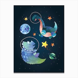 Watercolour Space Dinosaur Triceratops Canvas Print