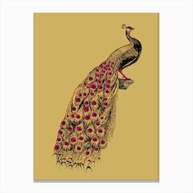 Yellow Peacock Canvas Print