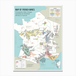 French Map Of Wine Regions And Vineyards Canvas Print