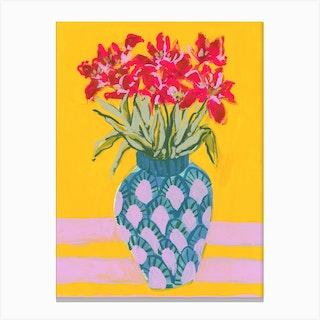 Vase Of Pink Flowers Canvas Print