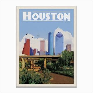 Houston Texas Travel Poster Canvas Print