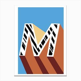 M Geometric Font Canvas Print