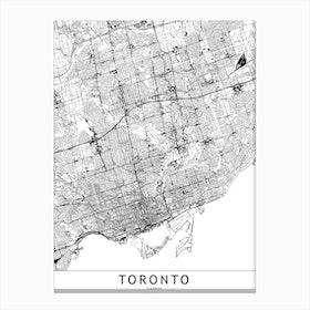 Toronto White Map Canvas Print