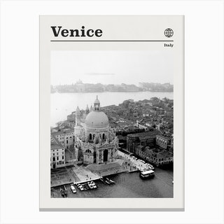 Venice Italy Black And White Canvas Print