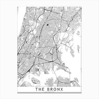 The Bronx White Map Canvas Print