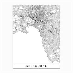 Melbourne White Map  I Canvas Print