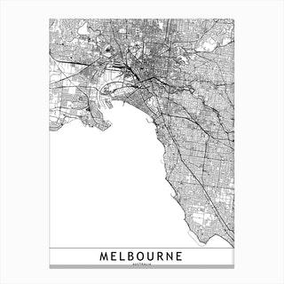 Melbourne White Map  I Canvas Print