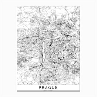 Prague White Map Canvas Print