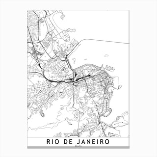 Rio De Janeiro White Map Canvas Print