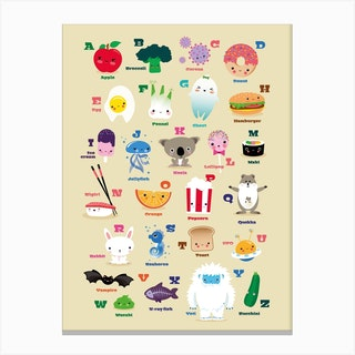 Nursery Kawaii Alphabet Canvas Print