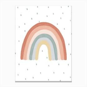 Rainbow Nursery Print  With Raindrops Canvas Print