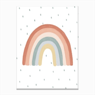 Rainbow Nursery Print  With Raindrops Canvas Print