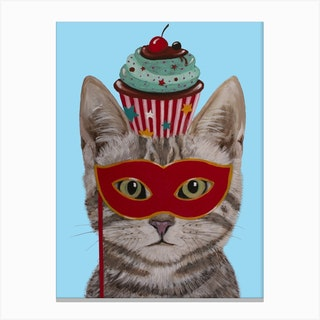 Cat With Cupcake Canvas Print