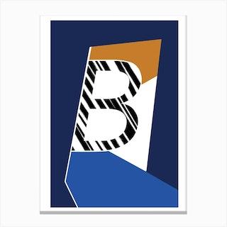 B Geometric Font Canvas Print