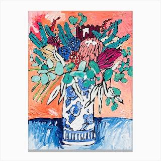 Australian Native Bouquet With Protea Canvas Print