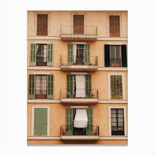 Windows Of Palma De Mallorca In Spain Canvas Print
