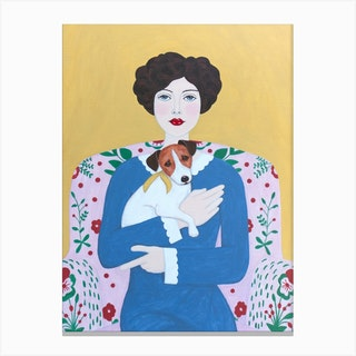 Woman And Jack Russell On Armchair Canvas Print