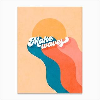Make Waves Retro Rainbow Canvas Print
