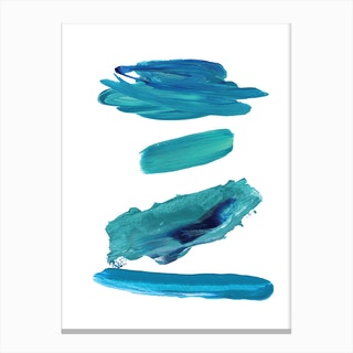 Realistic Turquoise Paint Strokes Canvas Print