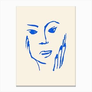 Matisse Style Portrait 1 Blue Canvas Print