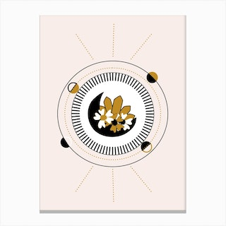 Moon Angd Flowers In A Geometrical Composition Canvas Print