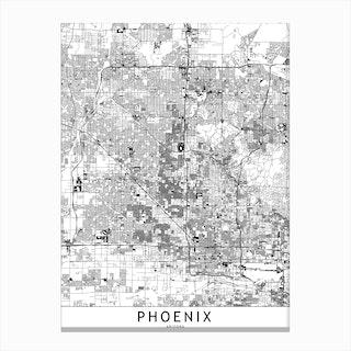Phoenix White Map Canvas Print