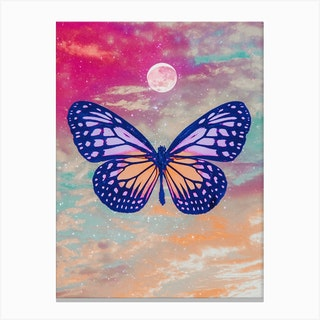 Bright Butterfly Moon Collage Canvas Print