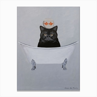 Black Cat With Fishbowl In Bathtub Canvas Print