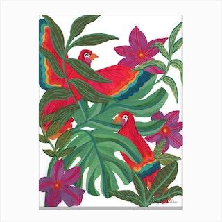 Jungle Parrots Canvas Print
