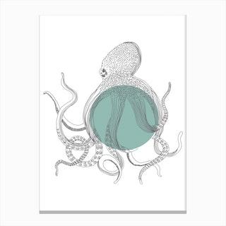 Marine Circle & Octopus Canvas Print