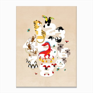 One Two Three Animals Canvas Print