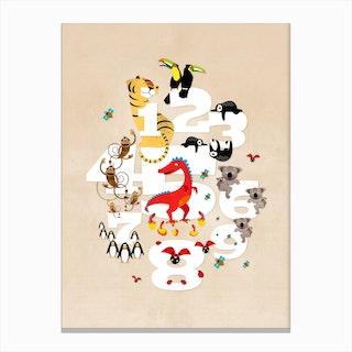 One Two Three Animals Canvas Print