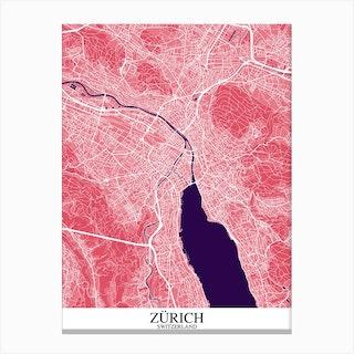 Zurich Pink Purple Canvas Print