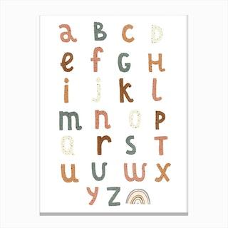 Alphabet Chart With Rainbow  Watermelon Canvas Print