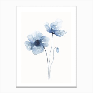 Blue Abstract Poppies 1 Canvas Print