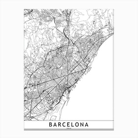 Barcelona White Map Canvas Print