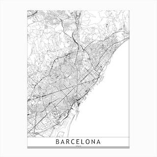 Barcelona White Map Canvas Print