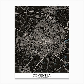 Coventry Black Blue Map Canvas Print