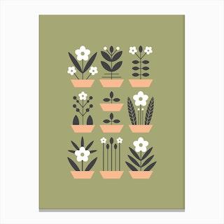 Nine Plants Green Canvas Print