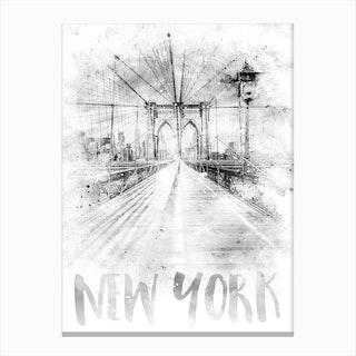 Watercolor Art Nyc Brooklyn Bridge Canvas Print