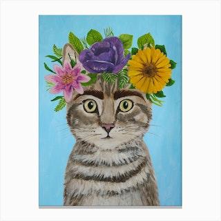 Frida Kahlo Cat Canvas Print