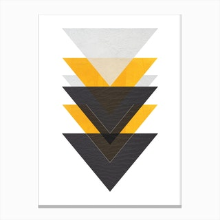 Yellow Grey and Black Six Triangles Abstract Canvas Print