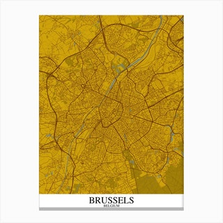 Brussels Yellow Blue Canvas Print