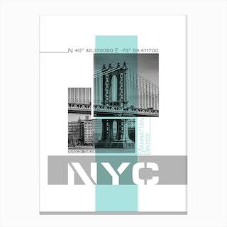 Poster Art Nyc Manhattan Bridge & East River Turquoise Canvas Print