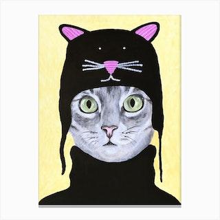 Cat With Cat Cap Canvas Print