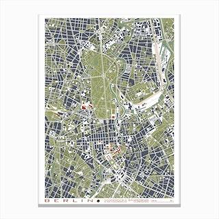 Berlin Grabado Map Canvas Print