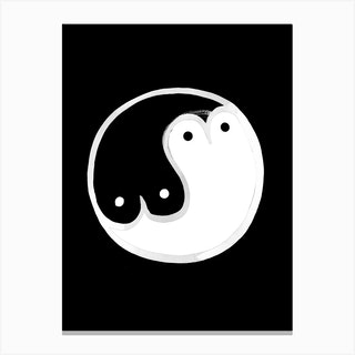 Boob Yin Yang Bw Canvas Print
