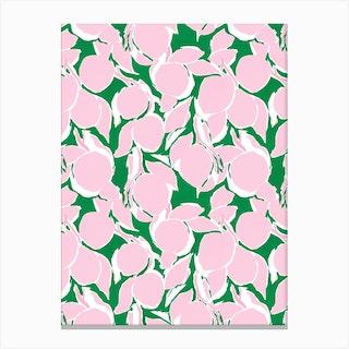 Pink And Green Citrus Print Canvas Print